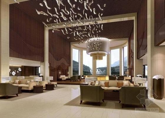 [贵阳]总投资10亿全球豪华五星级酒店设计方案大堂效果图
