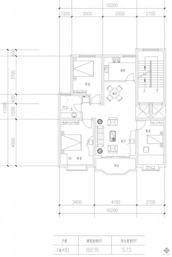 板式高层三室一厅单户户型图(103)