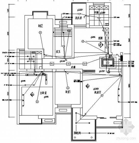 一套三室两厅样板房装修电气图纸