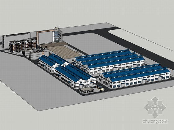 厂房办公建筑SketchUp模型下载-厂房办公建筑