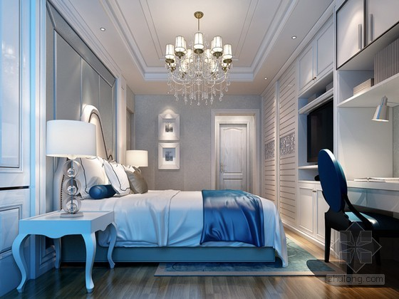 vr材质下载资料下载-欧式卧室3D模型下载