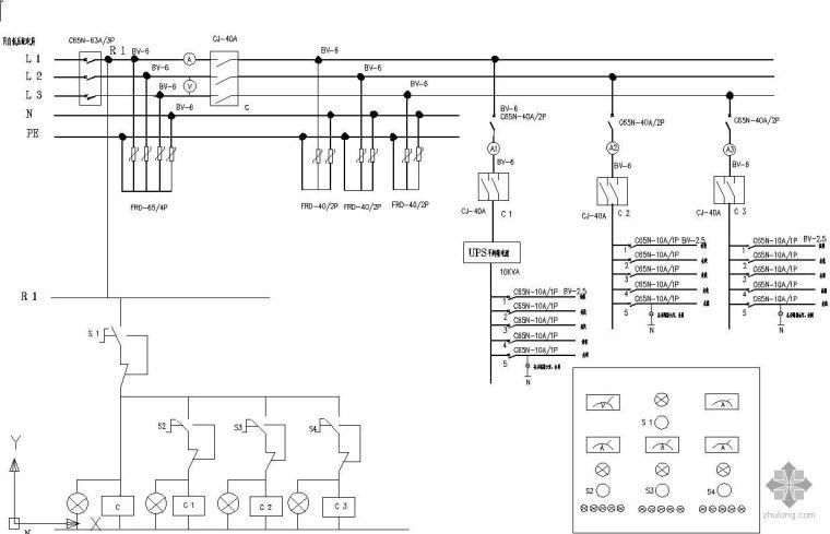 ups配电柜配线图资料下载-机房配电柜原理图