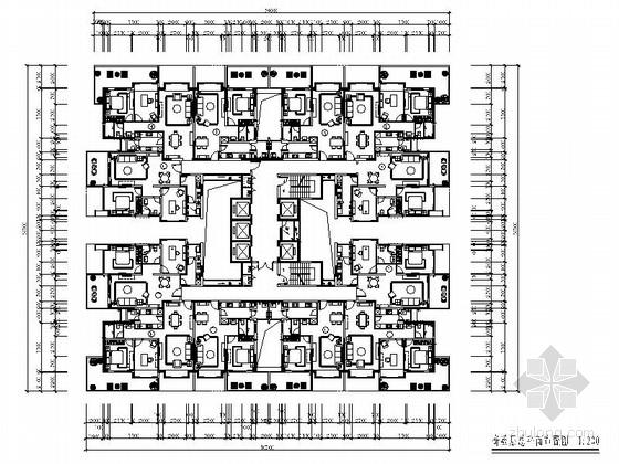 [深圳]某现代精装国际公寓奇数层户型室内竣工图