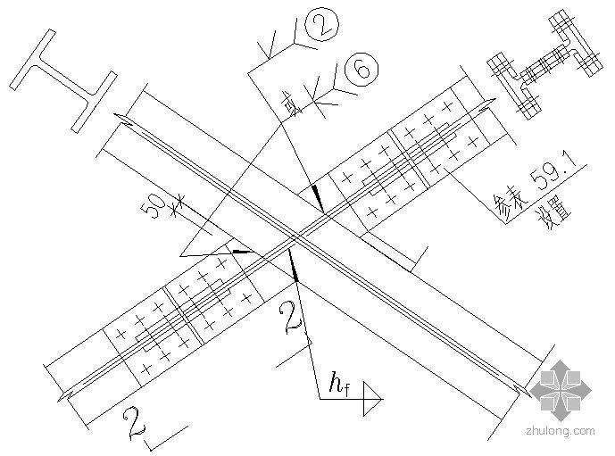 某支撑斜杆为H型钢与相同截面伸臂杆的连接节点构造详图(2)