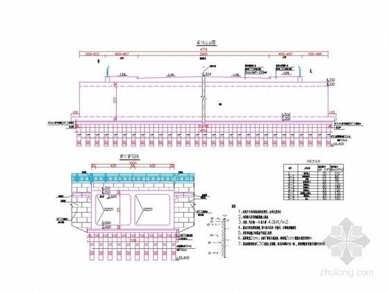 [浙江]47m、57m宽钢筋混凝土车行箱涵设计图纸17张(含栏杆)