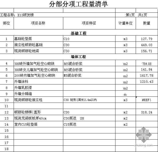 厂房土建工程量计算表格
