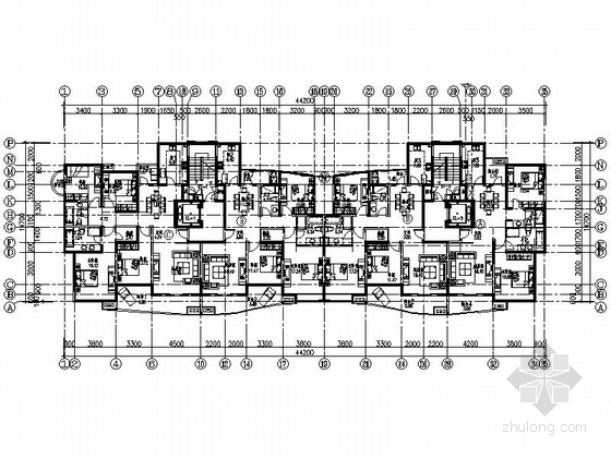某小高层板式住宅户型图(120、140、170平方米)