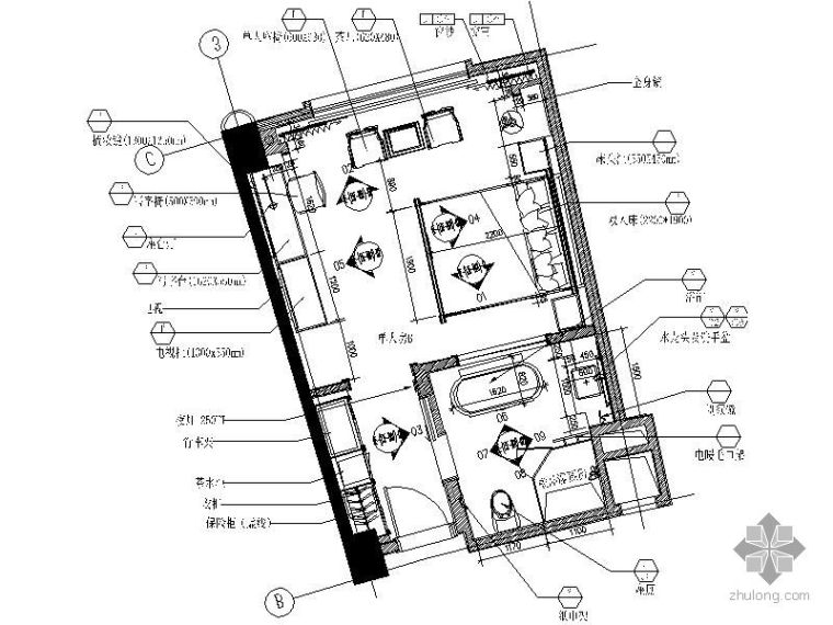 [珠海]某国际酒店B型样板房施工图