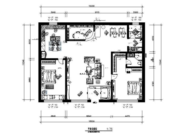 全套地中海田园风格样板房CAD施工图(含效果图)_1
