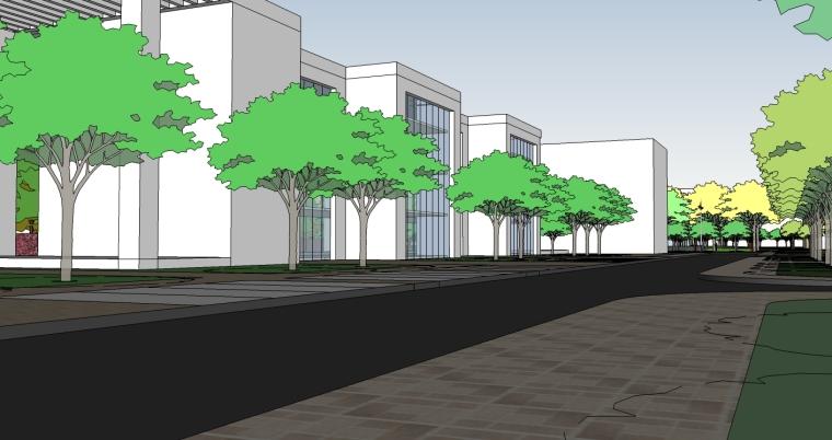 精现代风格学校规划建筑设计SU模型_6