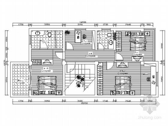 [原创]现代简约时尚4层别墅室内设计CAD施工图