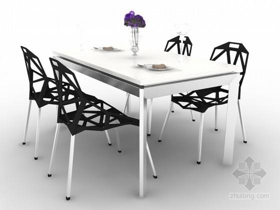 现代风格四人餐桌椅组合3d模型下载