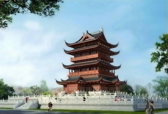 [安徽]徽派文化中央绿肺水口园林片区景观规划设计方案-景观效果图