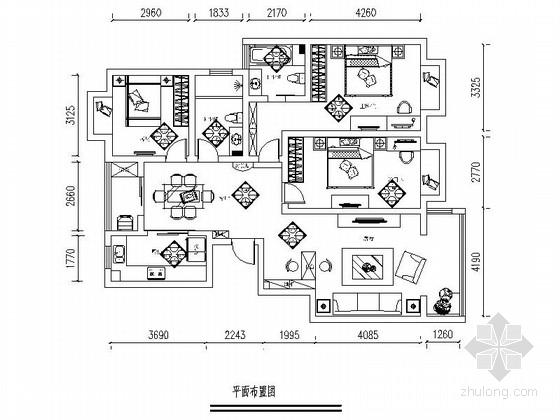 精品大气古典欧式三居室样板间装修图(含效果)