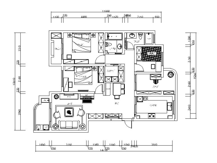 欧式田园风格样板房CAD施工图(含效果图)