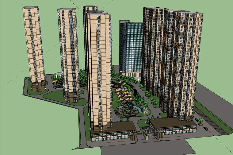 现代风格高层小区建筑景观精细模型设计