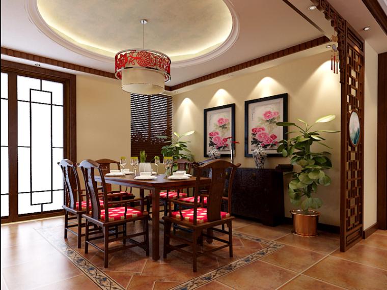 家庭中式餐厅3D模型下载