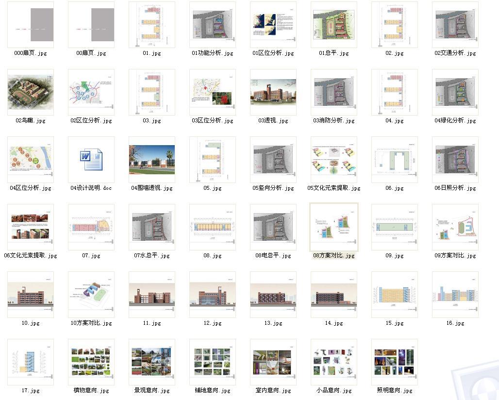 设计说明:造型风格以白、红色为主色调,用富有闽南特色的红砖来装饰外墙,以立体绿化和屋顶覆土提高绿化率,强调建筑如同由山间自然生长出来,虽由人为,宛自天开。选择低层的综合楼与教学楼造型,意图营造亲切宜人的氛围,强调山间校园之世外桃源特色。