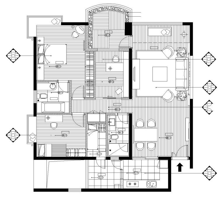 [广东]珠海丽景湾后现代风格样板房施工图设计