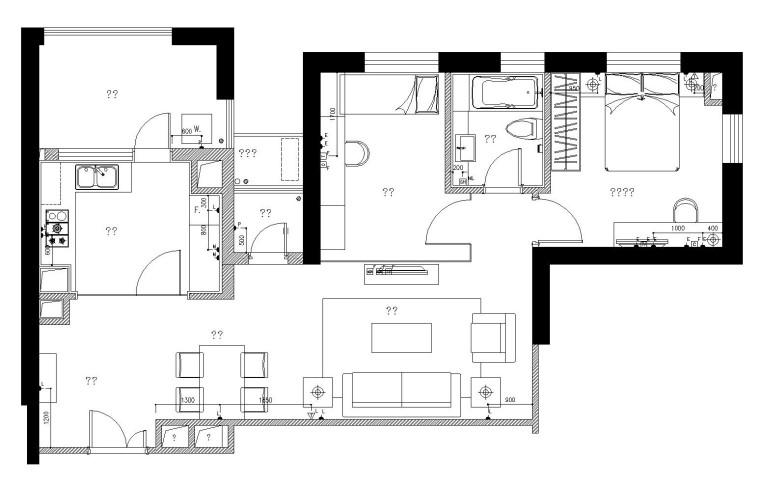 梁志天——上海两室一厅室内装修施工图设计