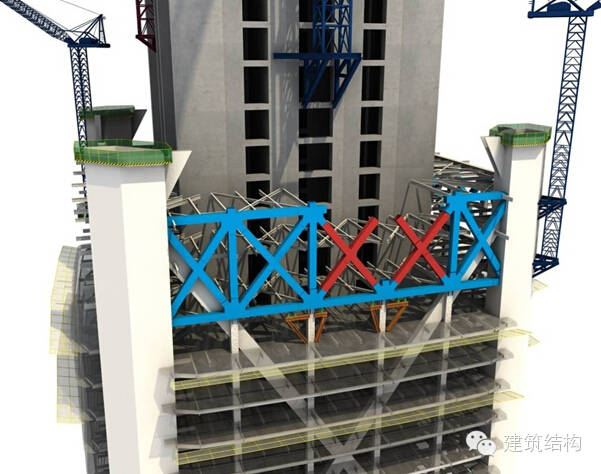 建筑结构丨超高层建筑钢结构施工流程三维效果图_8