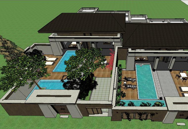 新中式风格庭院景观模型设计