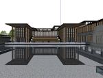 新中式小区庭院景观模型设计