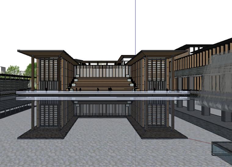 新中式小區庭院景觀模型設計