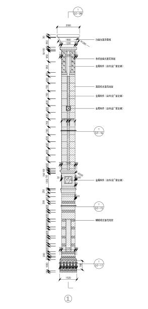 高层建筑石材幕墙施工图(CAD、50张)-柱立面大样图