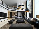黑白别墅客厅3D模型下载