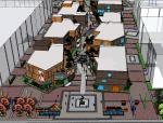 现代风格街区式步行街SU模型