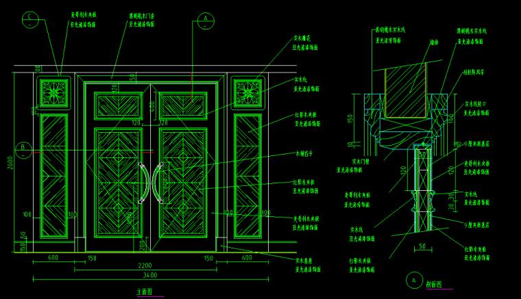 仿古门CAD大样详图(中式+欧式)
