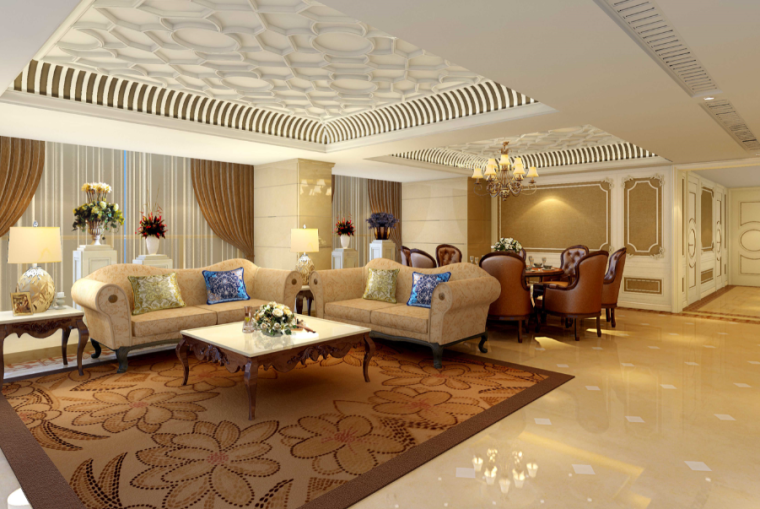 世代锦江国际酒店贵宾楼设计施工图(附效果图)-客厅效果图