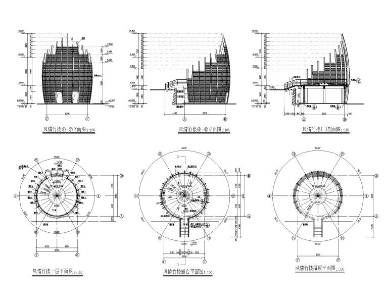 特色园林景观建筑设计施工图-风情竹楼01-Model