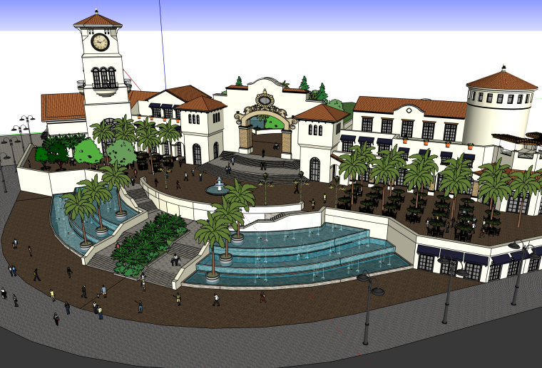 欧式会所入口喷泉广场建筑SU模型