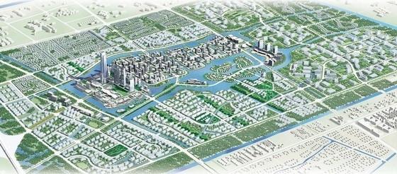 [上海]国际都市活动新城区景观规划设计方案-鸟瞰图