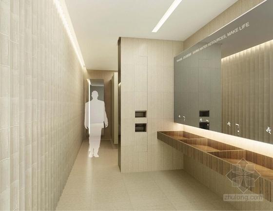 [上海]环超高层地标式摩天商务现代办公大楼设计方案洗手间效果图