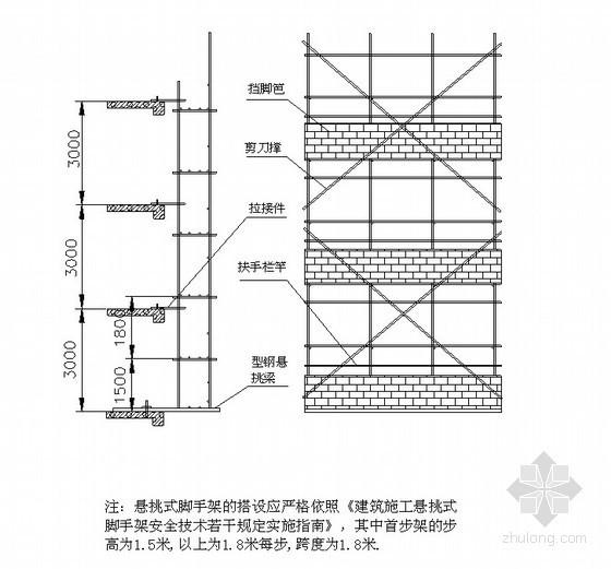 [广东]超高层住宅落地式、悬挑式脚手架施工方案(悬挑高度45m)