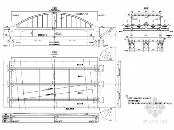 单跨70米三片拱肋下承式系杆拱桥设计图(47张)