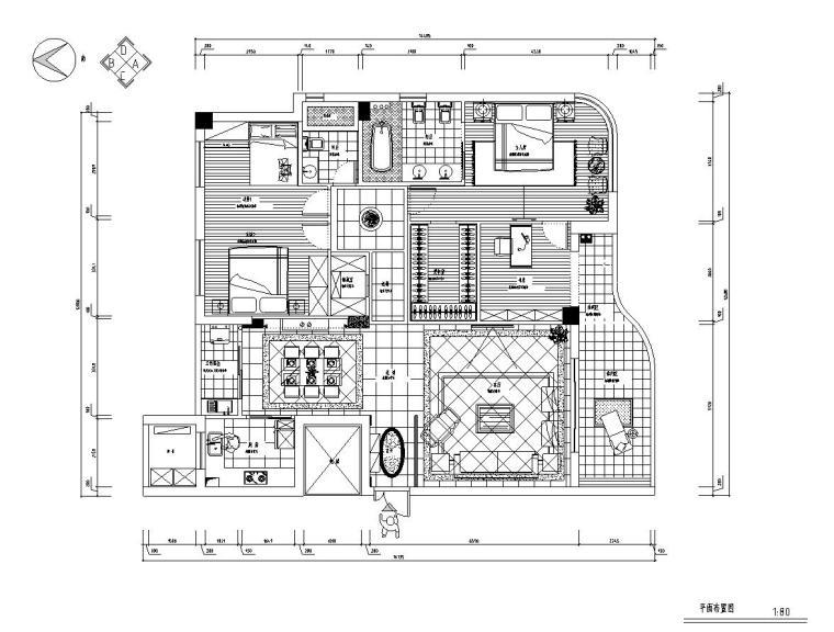 尚品居住区样板房施工图设计(CAD+实景图)
