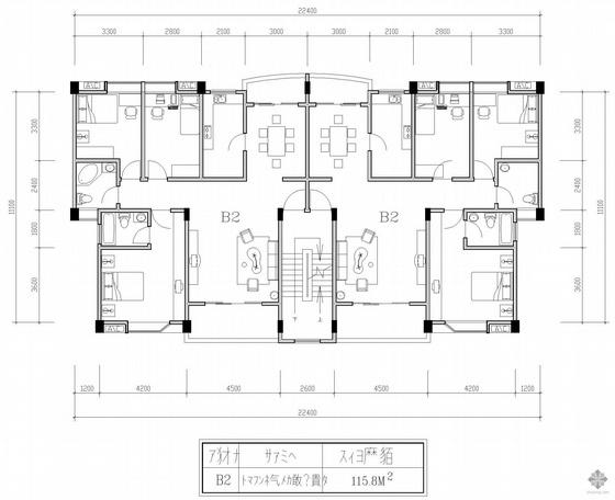 板式多层一梯二户三室一厅一卫户型图(116/116)