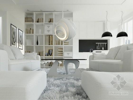 白色现代简约客厅3d模型下载