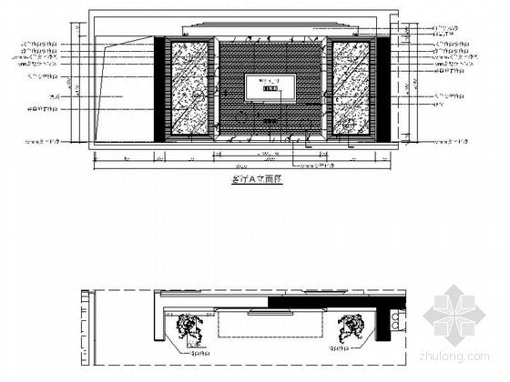 [福州]名事务所大四居样板间室内装修图 客厅立面