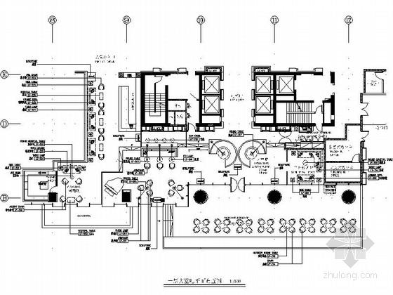 [南昌]金融中心新中式五星级酒店大堂吧装修施工图(含效果)
