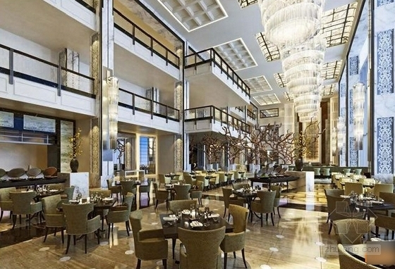 [青岛]连锁旅馆品牌高档五星级商务酒店设计方案全日餐厅效果图