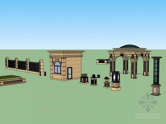 欧式建筑小品sketchup模型下载