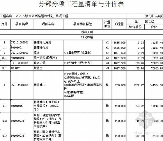 [福建]2013年某市政道路园林绿化工程量清单预算(定额+主材单价)