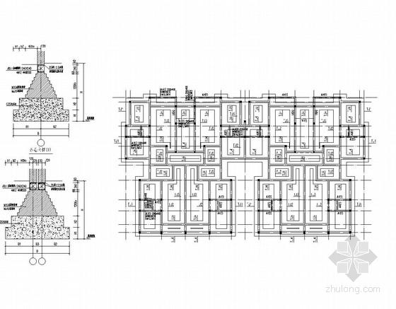 七层砖混、底部框架结构住宅楼结施(含建施)