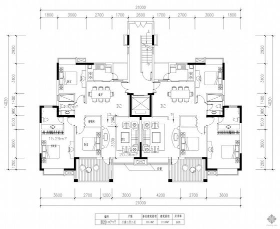 板式高层一梯二户三室二厅二卫户型图(112/112)