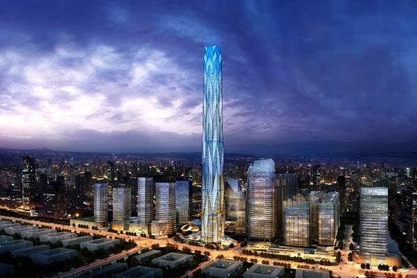 成都绿地中心巨型斜撑外框架-核心筒-伸臂桁架结构设计论文